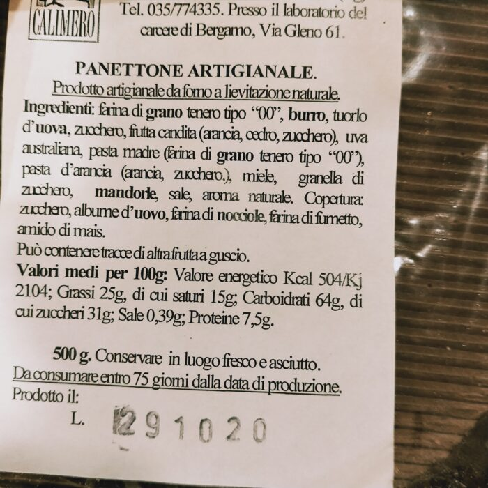 Panettone artigianale 500 g valori